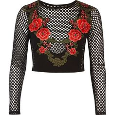 River Island Black rose mesh crop top ($40) ❤ liked on Polyvore featuring tops, bralette crop top, long sleeve crop top, long sleeve tops, crew neck tops and cut-out crop tops