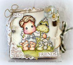 My honey Magnolia: MIni Bookcard with Edwin and Teo the dragon!