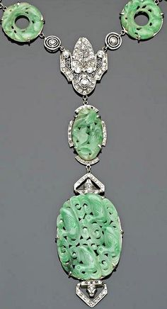 An art deco jadeite jade, diamond and platinum necklace, circa 1925, ht