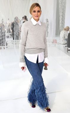 Fashion Week's Best Celebrity Photos From NYFW, Paris and Beyond - Olivia Palermo in feather jeans and a gray sweater at Delpozo