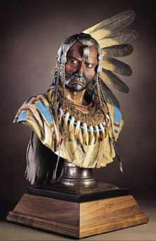 Two Ravens Upper Missouri  River Series - Lifesize Bronze Bust  with patina & paint, sculpted in 2005 Dave McGary