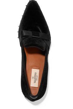 Valentino - Studded Grosgrain-trimmed Velvet Loafers - Black - IT38.5