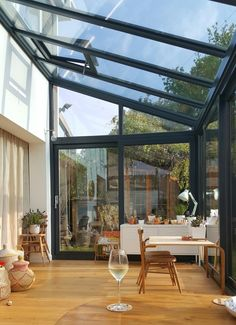 - Alice in Scandiland - Small roof window for ventilation Dust sheet curtains, serious budget styling. Alice in Scandiland - Extension Veranda, House Extension Design, Glass Extension, House Design, Garden Room Extensions, House Extensions, Sheet Curtains, Gypsy Curtains, Glass Room