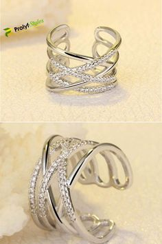 """1.9/"""" Long Sterling Silver Cubic Zirconia Armor Ring Micro Pave Vine Wrap"""