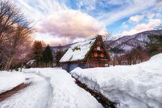 The beautiful Gassho houses of Shirakawa-go during the winter season. Japan.