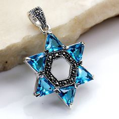Jewish Star of David Pendant Blue CZ Marcasite & Chemistry Tattoo, Jewish Crafts, Star Of David Pendant, Jewish Jewelry, Vintage Turquoise, Glitz And Glam, Star Necklace, Marcasite, Sterling Silver Pendants