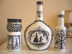 Декор предметов Декупаж Декупаж  Снова черно-белое Банки стеклянные Бутылки стеклянные фото 1