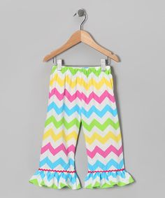 Very cute!  Take a look at this Rainbow Chevron Ruffle Pants - Infant, Toddler & Girls by Dibble Dabble Dandy on #zulily today!