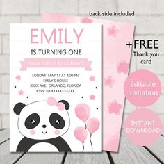 Panda Birthday Invitation panda invitation panda party panda invites panda birthday party supplies This is a DIGITAL FILE and nothing will be shipped INSTANT DOWNLOAD Panda invitation file will be available to download after your payment is confirmed + FREE Panda Thank you Card
