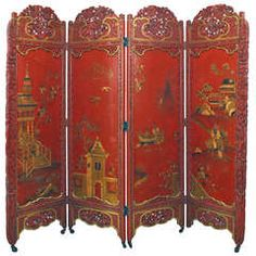 Red And Gold Lacquered Chinoiserie Screen
