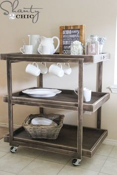 So excited to teach a clinic at on how to build a rolling cart! We love carts 💕 Check out this one! Search 'DIY Bar Cart' on our site Decor, Rustic Furniture, Wood Diy, Coffee Carts, Diy Kitchen Cart, Bars For Home, Diy Bar, Drink Cart, Wood Bar Cart