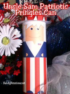 Keep your sparklers safe and away from the kids this 4th of July with this fun Uncle Sam Patriotic Sparkler holder.  Or fill with cookies and other treats for a great gift idea or decoration at your pre-firework festivities.