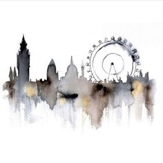 London city abstract ART PRINT watercolor painting via Etsy Art Et Illustration, Illustrations, Landscape Illustration, Painting & Drawing, Watercolor Paintings, Watercolours, Pastel Watercolor, Watercolor Ideas, Watercolor Drawing