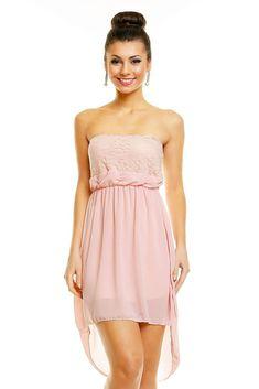 282f19c1a0bee5 Abiballkleid rosa Abendkleid vorne kurz hinten lang Vokuhila Chiffon  Maxikleid