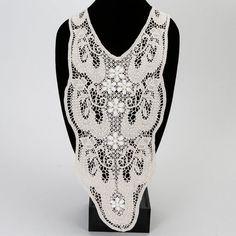 Large Ecru V Shape Floral Lace Crochet Style by felinusfabrics, $6.00