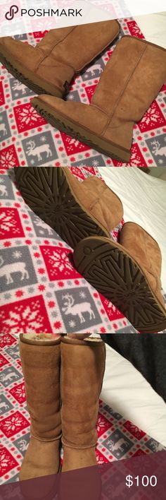 """Classic Tall Uggs Classic tall uggs in color """"chestnut"""" Had for awhile & worn but still so much life left in these! Soles are in excellent condition. Still soft & warm inside & out. UGG Shoes Winter & Rain Boots"""