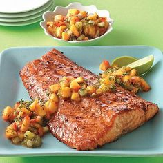 Fresh peaches, kiwi, green onion, lime juice and just a hint of crushed red pepper gives this fresh fruit salsa an extra kick when paired with the sweet glaze on this salmon. Salmon Recipes, Fish Recipes, Seafood Recipes, Cooking Recipes, Healthy Recipes, Yummy Recipes, Recipies, Seafood Meals, Vegetarian Recipes