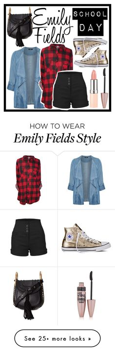 """Emily Fields School Day"" by sophiaogreendemigod on Polyvore featuring Evans, Converse, LE3NO, Chloé and Maybelline"