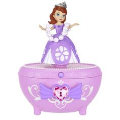 "Musical Jewelry Box - Sofia the First Musical Jewelry. This beautiful purple jewelry box features a Princess Sofia figurine that twirls to the song ""Rise and Shine""! This jewelry box is the perfect keepsake gift Sofia The First Room, Princess Sofia The First, Kids Jewelry Box, Musical Jewelry Box, Toys For Girls, Kids Toys, Minnie Mouse Toys, Baby Bouncer, Purple Jewelry"