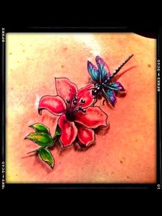 #lily #flower #dragonfly #tattoo