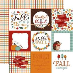 """Create some fall cards with the Happy Fall Collection 6"""" x 6"""" Paper Pad by Echo Park. Included in the paper pad are 24 sheets of double sided paper that include images of pumpkins, leaves, flowers, acorns, and more. Made in the USA. Pumpkin Images, Fall Picnic, Echo Park Paper, Welcome Fall, Scrapbook Page Layouts, Scrapbooking, Autumn Activities, Fall Cards, Hello Autumn"""