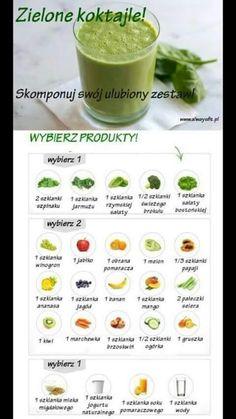 Genialna ściąga z zdrowych koktajli - skomponuj łatwo jaki chcesz :d Healthy Juice Drinks, Healthy Juices, Smoothie Drinks, Healthy Smoothies, Smoothie Mix, Green Smoothies, Coctails Recipes, Raw Food Recipes, Healthy Recipes