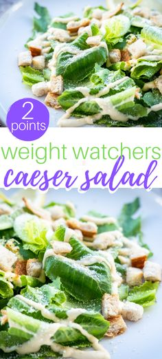 Weight Watchers Caesar Salad 2 points recipes - perfect side dish recipe for lunch and dinner! Weight Watchers Points, Weight Watchers Sides, Weight Watchers Salad, Weight Watchers Lunches, Weight Watcher Dinners, Weight Watchers Chicken, Weight Watchers Dressing, Diet Salad Recipes, Salad Dressing Recipes