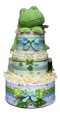 Hop-a-Long frog baby boy diaper cake ~ change to elephant