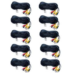 VideoSecu 10 Pack 100ft Feet Audio Video Power BNC RCA Cables Security Camera Extension Wires Cords for CCTV DVR Home Installation Surveillance System with Free Connectors CKM by VideoSecu. $109.99. Use with Closed Circuit Television (CCTV) applications and security camera components. This pre-terminated CCTV cable is perfect for transmitting video and power. Simplify the installation of surveillance systems by using one cable to carry video and power. Now, it...