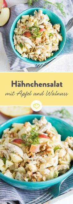 Mit diesem Rezept steht dir neben dem wohlverdienten Feierabend ein Salat mit knackigem Apfel, zarten Pulled Chicken und einem leckeren Dill-Dressing bevor.