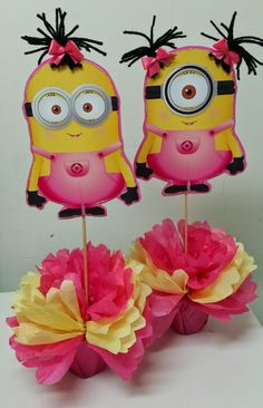 girl minion baby shower – Home Party Theme Ideas Minion Party Theme, 2nd Birthday Party Themes, Minion Birthday, Birthday Fun, Minion Centerpieces, Minion Baby Shower, Girls Party, Party Decoration, Party Ideas