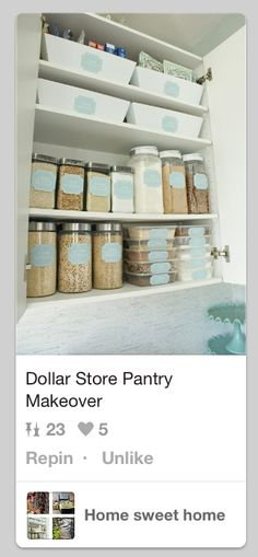 Pantry ✔ Laundry Room Storage, Kitchen Organization, Organized Kitchen, Pantry Makeover, Getting Organized, Dollar Stores, Housekeeping, Bathroom Medicine Cabinet, Sweet Home