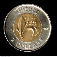 Quebec artist Geneviève Bertrand won a design competition to create a new reverse of the two-dollar circulation coin commemorating the 400th anniversary of Quebec City. The date 1608 appeared on the left side of the outer ring, while 2008 appeared on the right of the ring on this commemorative coin's reverse side. Only six million of these special coins circulated, in addition to more than 17 million 2008 Toonies produced with the traditional Polar Bear design.  Google Search
