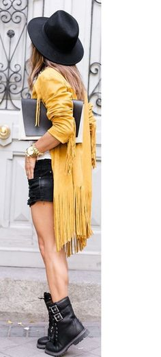 jacket kimono yellow black shorts boots militarry boots black hat yellow jacket shoes