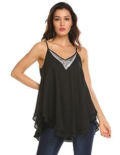 50ac4c71d0a Buy Concep Women Loose Flowy Tank Top Layered Cami Shirt Sequin V Neck  Chiffon Blouse online