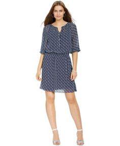 Lauren Ralph Lauren Petite Printed Peasant Dress