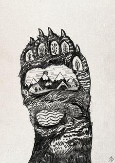 Bear Paw // A5 print 5x8 by SandraDieckmann on Etsy