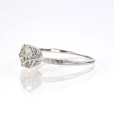 Leigh Jay Nacht Inc. - Replica Edwardian Engagement Ring - 3141-14 - Wish this was a little bigger stone and in platinum but I love the champagne diamond
