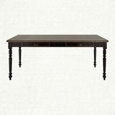 "Adeline 74"" Rectangle Steel Top Dining Table with Turned Leg in Black 