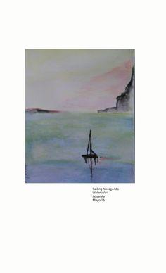 Acuarela Watercolor sailing sunset  2016