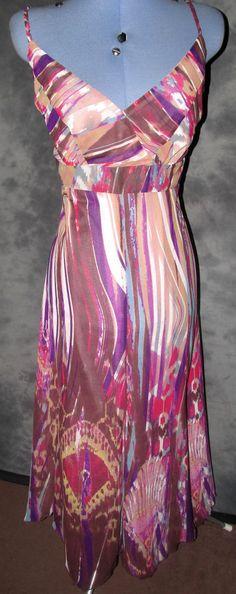 Per-Una,ladies,size 18,multi coloured,v neck,strappy,polyester,formal,Tea Dress.