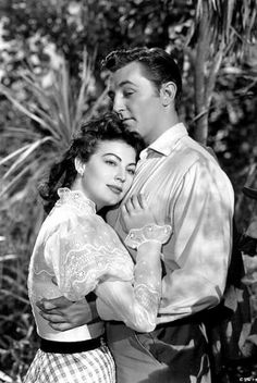 "Ava Gardner and Robert Mitchum in ""My Forbidden Past""."