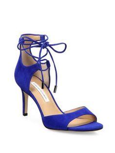 DIANE VON FURSTENBERG Rimini Suede Lace-Up Sandals. #dianevonfurstenberg #shoes #flats