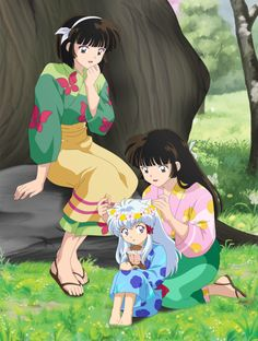 Sango's and Miroku's twins playing with Inuyasha and Kagome's daughter