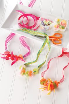 How to make cute candy necklaces. Fun activity for a child's party. (From Courtney Dial Whitmore's book, Candy Making for Kids.)