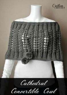 Wearing a warm crochet cowl like this Dynamic Cathedral Cowl feels like walking around in a hug all day. It's stylish but soft and personal, with so many different options for how to wear it. It has gorgeous pom pom strings and a ribbed texture.