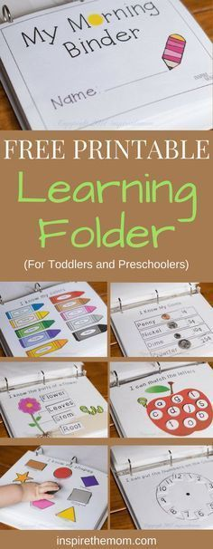 Whether you are teaching your prechooler at home or working with them in preparation for school, here is a free printable learning binder for you. #daycarebusiness