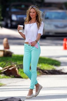 Candice Swanepoel in mint green skinny jeans <3 Fashion Style