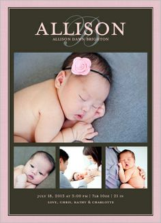 Modern Script Girl Birth Announcement by Petite Lemon | Shutterfly