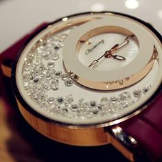 Diamond watch with leather belt.Elegant watch for elegant lady.